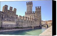 Moat Canvas Prints - Scaliger castle wall of Sirmione in Lake Garda Canvas Print by Joana Kruse