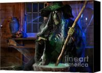 Haunted House Photo Canvas Prints - Scary Old Witch with a Cauldron Canvas Print by Oleksiy Maksymenko