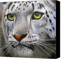 Big Painting Canvas Prints - Snow Leopard Canvas Print by Jurek Zamoyski