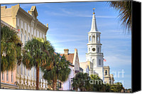 Charleston Sc Harbor Tours Canvas Prints - St Michaels Church Charleston SC Canvas Print by Dustin K Ryan