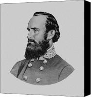 American Civil War Products Drawings Canvas Prints - Stonewall Jackson Canvas Print by War Is Hell Store