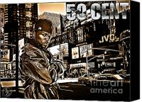 Cent Canvas Prints - Street Phenomenon 50 Cent Canvas Print by The DigArtisT