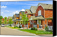Townhomes Canvas Prints - Suburban homes Canvas Print by Elena Elisseeva
