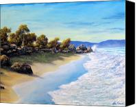 Beaches Reliefs Canvas Prints - Surf Surge Canvas Print by John Cocoris