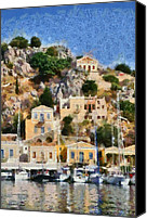City Canvas Prints - Symi island Canvas Print by George Atsametakis