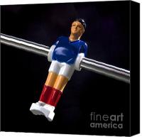 Indoors Inside Canvas Prints - Tabletop soccer figurine Canvas Print by Bernard Jaubert