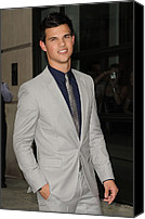 Gray Suit Canvas Prints - Taylor Lautner At Arrivals For The Canvas Print by Everett