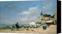 Beach Scenes Canvas Prints - The Beach at Trouville Canvas Print by Eugene Louis Boudin