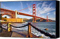 Golden Gate Bridge Tower Blue Sky Canvas Prints - The Golden Gate Canvas Print by Brian Jannsen