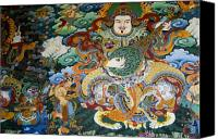 Tibetan Buddhism Canvas Prints - Tibetan Buddhist Mural Canvas Print by Michele Burgess