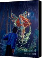 Faerie Drawings Pastels Canvas Prints - Tom Quinn and the Other World Canvas Print by Kathryn Donatelli