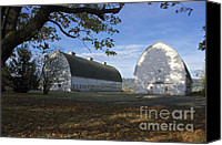 Farming Barns Canvas Prints - Twin Barns Canvas Print by Sean Griffin