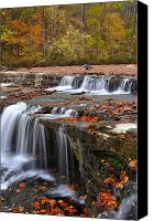 Indiana Autumn Canvas Prints - Upper Cataract Falls Owen County Indiana Canvas Print by Marsha Williamson Mohr