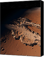Canyon Craters Canvas Prints - Valles Marineris, Artwork Canvas Print by Detlev Van Ravenswaay