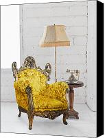 Vintage Telephone Canvas Prints - Victorian Sofa In White Room Canvas Print by Setsiri Silapasuwanchai