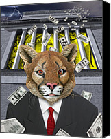 Mountain Lion Digital Art Canvas Prints - Wall Street Predator Canvas Print by Keith Dillon