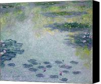 Monet Painting Canvas Prints - Waterlilies Canvas Print by Claude Monet