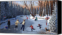 Alberta Landscape Canvas Prints - Winter Fun at Bowness Park Canvas Print by Neil Woodward
