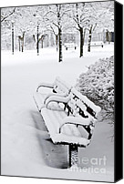 Park Benches Canvas Prints - Winter park Canvas Print by Elena Elisseeva