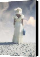 Glove Canvas Prints - Woman With Suitcase Canvas Print by Joana Kruse