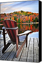 Fall Canvas Prints - Wooden dock on autumn lake Canvas Print by Elena Elisseeva