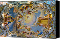 Stucco Canvas Prints - World heritage frescoes of wieskirche church in bavaria Canvas Print by Ulrich Schade