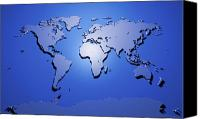 Panoramic Canvas Prints - World Map in Blue Canvas Print by Michael Tompsett