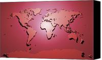 Map Of The World Digital Art Canvas Prints - World Map in Red Canvas Print by Michael Tompsett