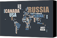 Map Art Digital Art Canvas Prints - World Map in Words Canvas Print by Michael Tompsett