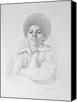 African American Art Drawings Canvas Prints - young Michael Canvas Print by David Price