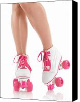 Roller Skates Canvas Prints - Young Woman Wearing Roller Derby Skates Canvas Print by Oleksiy Maksymenko
