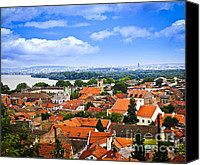 Tile Canvas Prints - Zemun rooftops in Belgrade Canvas Print by Elena Elisseeva