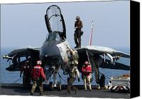 Operation Iraqi Freedom Canvas Prints - An F-14d Tomcat On The Flight Deck Canvas Print by Gert Kromhout
