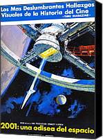 1960s Poster Art Canvas Prints - 2001 A Space Odyssey, Aka 2001 Una Canvas Print by Everett