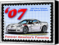 Special Edition Canvas Prints - 2007 Ron Fellows Z06 Special Edition Corvette Canvas Print by K Scott Teeters