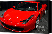 Transportation Tapestries Textiles Canvas Prints - 2011 Ferrari 458 Italia . 7D9397 Canvas Print by Wingsdomain Art and Photography