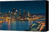 Pittsburgh Pirates Canvas Prints - 2011 Supermoon over Pittsburgh Canvas Print by Jennifer Grover