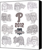 Cliff Lee Drawings Canvas Prints - 2012 Phightin Phils Canvas Print by Chris  DelVecchio