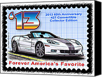 Special Edition Canvas Prints - 2013 60th Anniversary 427 Convertible Corvette Canvas Print by K Scott Teeters