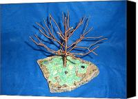 Copper Sculpture Canvas Prints - 24 gauge copper Wire Tree by the Beach Canvas Print by Serendipity Pastiche