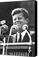 Rathaus Photo Canvas Prints - John F. Kennedy (1917-1963) Canvas Print by Granger