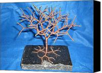 Copper Sculpture Canvas Prints - 24g copper Wire Tree on a Black Marble or Granite Slab Canvas Print by Serendipity Pastiche