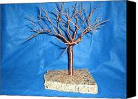 Copper Sculpture Canvas Prints - 24g copper Wire Tree on a Gray and Black Marble Canvas Print by Serendipity Pastiche