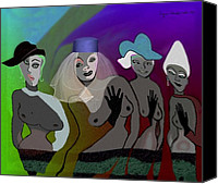 Glove Digital Art Canvas Prints - 255 - Crazy Party Women Canvas Print by Irmgard Schoendorf Welch