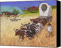 Cattle Pastels Canvas Prints - 25th Anniversary Santa Fe Trail Association Canvas Print by Tracy L Teeter