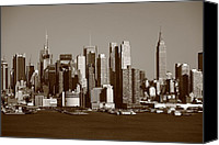 Aircraft Poster Photo Canvas Prints - New York City Skyline Canvas Print by Frank Romeo