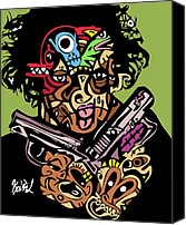 Popstract Canvas Prints - 2Guns up full color Canvas Print by Kamoni Khem