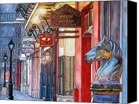 Louisiana Drawings Canvas Prints - 3   French Quarter Hitching Post Canvas Print by John Boles
