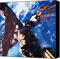 Complexity Canvas Prints - A Space Station Orbiting Above The Earth Canvas Print by Stockbyte