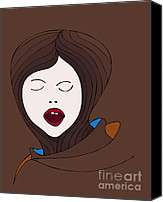 Brown Drawings Canvas Prints - A Woman Canvas Print by Frank Tschakert